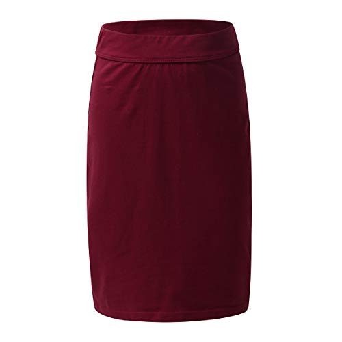 YiZYiF Girls Kids' Fashion Plain Stretch Knee Length Pencil Skirts with Fitted Elastic Waistband 4-14 Years 04 Burgundy 7-8 Yr