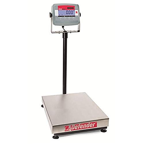 OHAUS D31P60BR Defender 3000 Basic Level Dry-Use Bench Scale, Stainless Steel Pan, 60 kg Capacity, 10 g Readability, 355 mm Platform L x 305 mm Platform W