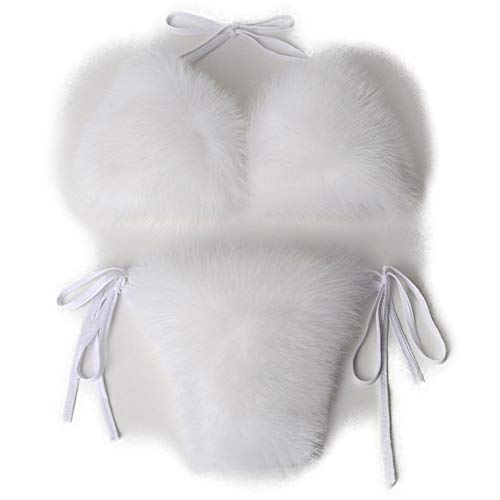 LanXi Damen Badeanzug mit Fuchsfell Elegante Sommer-Bikini Fell-Badeanzug Bikinihose Bikini Set (Weiß)