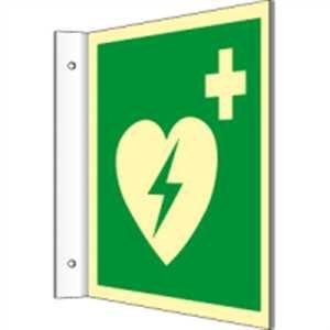 Fahnenschild Automatisierter externer Defibrillator (AED) HIGHLIGHT PVC 20 x 20cm mit 2 Bohrungen à 3 mm Ø Leuchtdichte: HIGHLIGHT 48 mcd/m² gemäß ISO 7010, E010