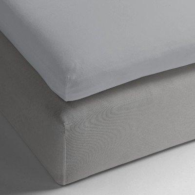 Heckett & Lane katoenen hoeslaken voor topper boxspring I kleur zilvergrijs I grootte 200x200 x 12 cm