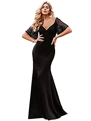 Ever-Pretty Evening Dress for Women Formal Long Bridesmaid Dress for Wedding Guest Black US16