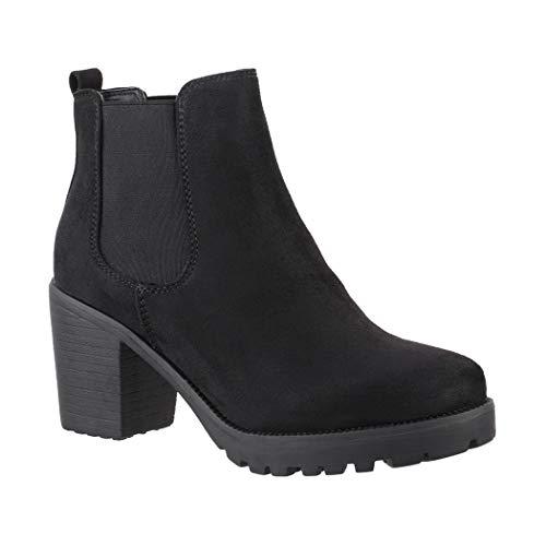 Elara Damen Stiefeletten Ankle Boots Chunkyrayan H-KA523-1sl Black-38