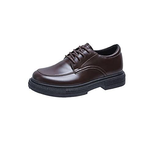 HushuigeeeWNJ Zapatos de Vestir para Mujer, Zapatos para Mujer Zapatos de Oxford Plataforma Plana Zapatos Casuales Zapatos de Cuero Negro Coser Toe Round Toe Single Shoes