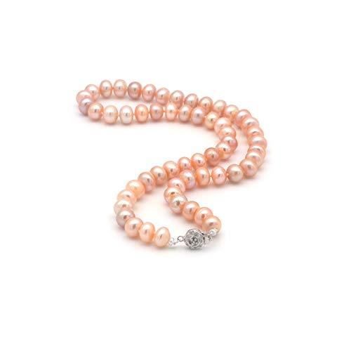 ELAINZ HEART alta qualità vera grande collana di perle da sposa,45cm A2AAA fine lustro rosa 9-10mm perline puro coltivate d'acqua dolce