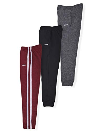 Hind Boys 3-Pack Fleece Jogger Sweatpants for Athletic & Casual Wear (Red-Black-Charcoal, 10-12)