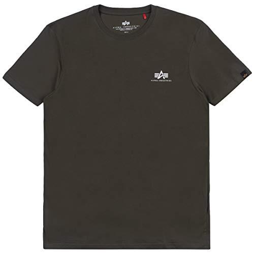 Alpha Industries T-Shirt Basic T Small Logo schwarz weiß blau grün rot Olive rot gelb braun grau (XL, Dark Green)