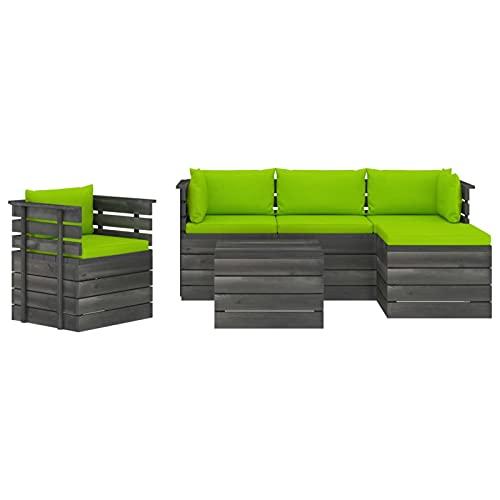 Susany Juego de Muebles de Jardín de Palets 6 Piezas Sofá de Terraza con Cojines Conjunto de Asientos para Balcón Madera Maciza de Pino Verde Brillante