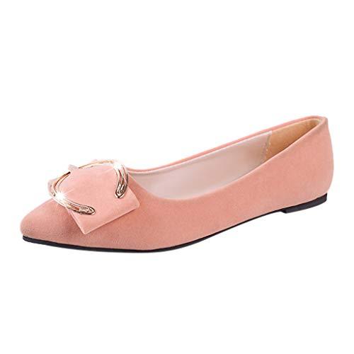 Qmber Damen Ballerinas Frauen Flats Sommerschuh elegant Freizeit Klassische klassisch elegant Metallschnalle Spitze Zehen Herde/Pink,39
