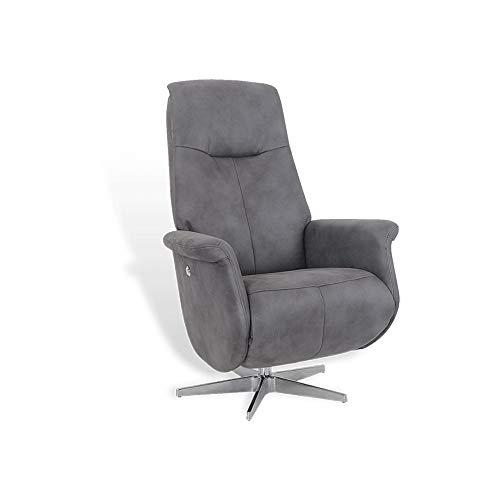 MND My New Design - Sillón de relaxación manual, puf integrado, muy cómodo, de piel o tejido de microfibra, muy elegante y de diseño, giratorio 360 ° (antracita, microfibra)