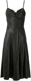 LUST FOR PELLE nero svasato abito da donna in pelle