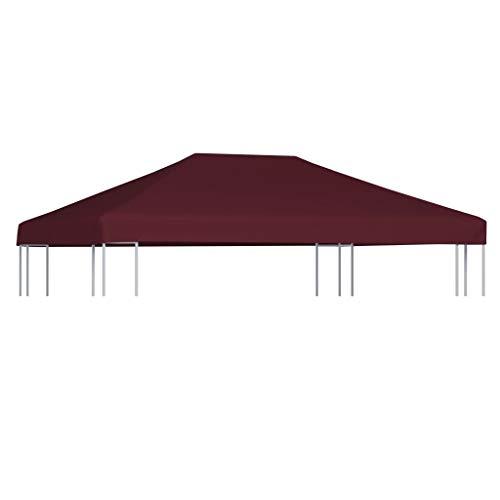 Tidyard-Copertura Superiore per Gazebo 310g/m² 3x4m Bordeaux Impermeabile con Rivestimento in PVC