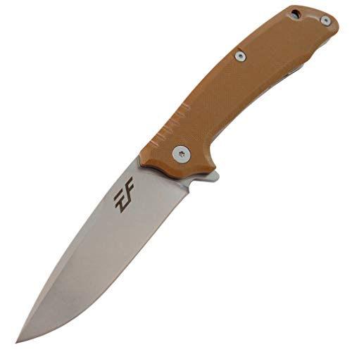 Eafengrow EF223 Folding Knife D2 Blade with G10 Handle Multi Pocket Knife Survival Outdoor Camping Survival (brown)