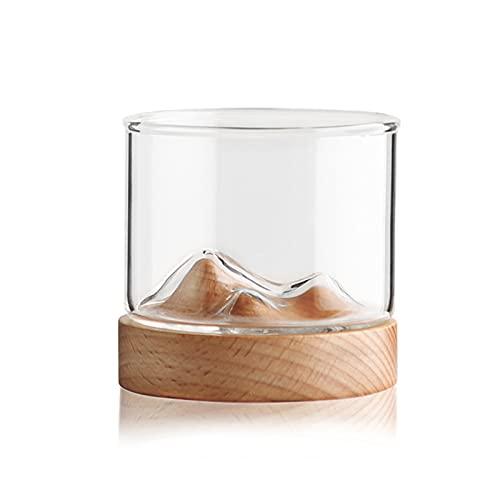 Copas de Vino, Copas de Whisky Con Fondo de Madera Vidrio Resistente al Calor Taza de Té Hogar Bien Diseñado Personalidad Copa de Vino de Montaña