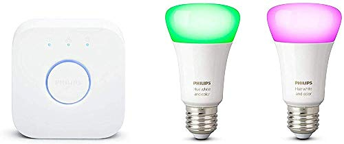 Philips Hue White and Color Ambiance Starter Kit 2 Lampadine Smart con Bluetooth Attacco E27 e un Bridge Hue per Controllo del Sistema