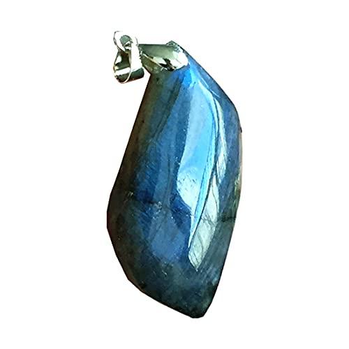 Colgante de labradorita natural, joyería de cuentas de cristal de labradorita para mujeres y hombres, 46 x 21 x 10 mm, piedra de luna de plata amarilla y azul claro AAAAA