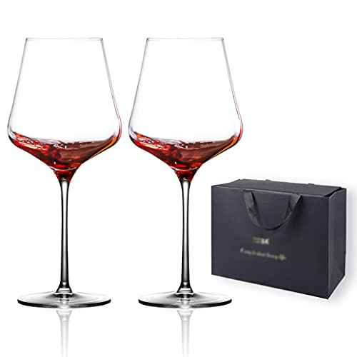 Copas de vino Copa de Vino Tinto * 2, románticas para Amantes, Copa de Vino de Cristal, Copa de Fiesta, Caja de Regalo, Regalos para Amantes del Vino (Color : Clear, Size : 700ml)