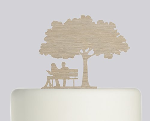 Bride And Groom Couple on Bench under Oak Tree wedding cake topper Acrylic Cake Topper -Wood Acrylic