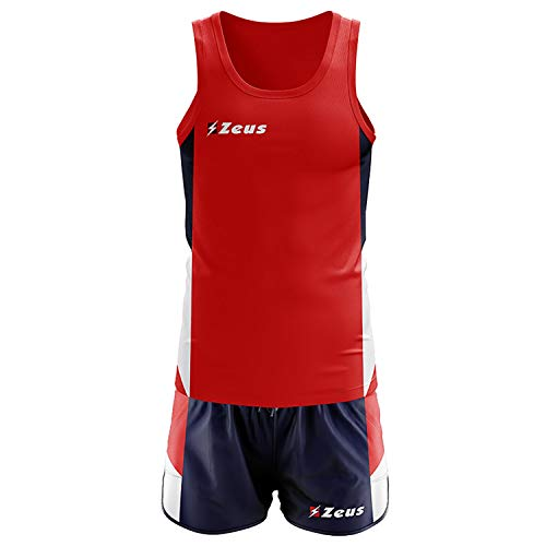 ZEUS KIT BRUNO ROSSO-BLU-BIANCO RUNNING COMPLETO COMPLETINO SPORT TORNEO PEGASHOP (S)