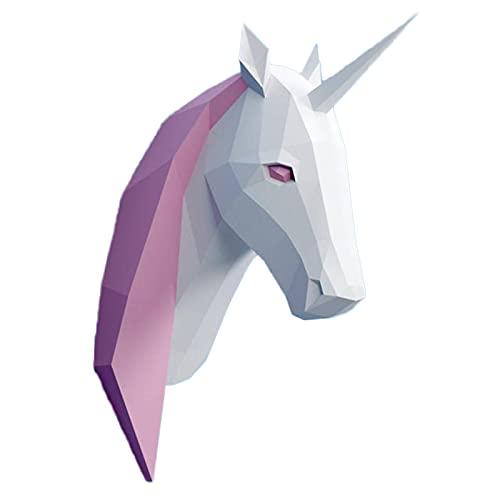 WLL-DP Escultura De Papel 3D, Cabeza De Unicornio, Rompecabezas De Origami, Modelo De Papel DIY, Trofeo De Papel, Decoración De Pared Geométrica, Accesorios para Fotos, Juego Hecho A Mano