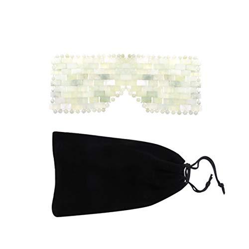 Exceart Jade-Augenmaske von Natural Jade Stone Cooling Eye Mask Zur Kältetherapie bei Geschwollenen Augen Sinuskopfschmerz Migräne Linderung