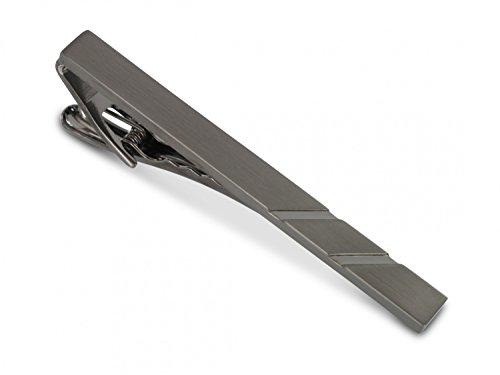 TEROON Krawattenklammer / Krawattennadel schwarz mattiert Gravur geeignet