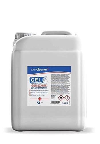 Ipercleaner Gel Igienizzante Mani Tanica 5 Litri Con 70% Alcol Disinfettante, Elimina il 99% di batteri senza utilizzo di acqua, Ideale come ricarica per ogni tipo di colonnina o dispenser (5000 ML)