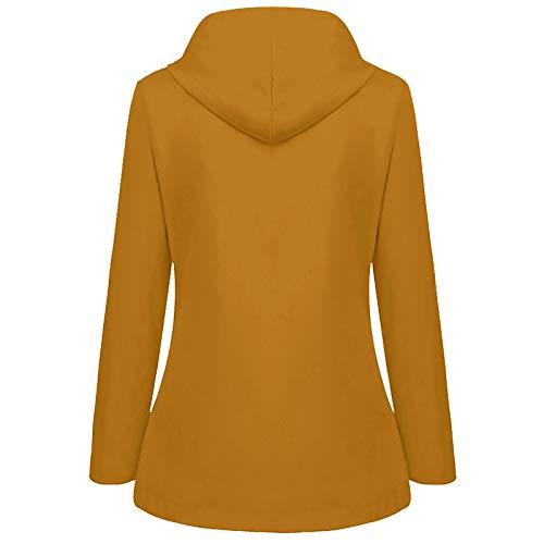 Rusaly Damen Einfarbig Winterpullover, Sweater Casual Hoodie Kapuzenpullover Lose Frauen Pullover mit Kapuze Kängurutaschen AS (deckenmantel, skijacke damen reduziert)