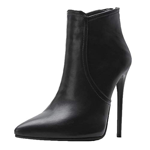 MISSUIT Damen High Heels Ankle Boots Spitz Stiefeletten mit 12cm Absatz Stiletto und Reißverschluss Hinten Schuhe(Schwarz,46)