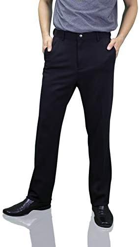 Down With Monarchy Men's Corporate Travel Pants, Stretch, Zipper Pocket, Black
