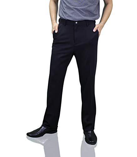 Down With Monarchy Men's Corporate Travel Pants, Stretch, Zipper Pocket, Black, 38W x 30L