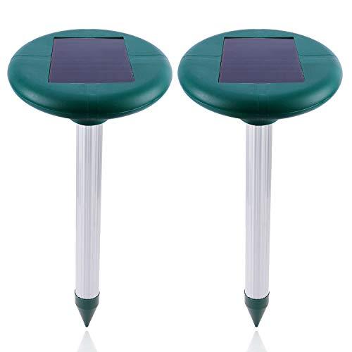 FORMIZON Repelente Solar Ultrasónico, 2 Piezas Ahuyentador de Topos Solar, Repele los Ratones Topos y Las Ratas Roedor, Repelente de Topo para Aire Libre Césped Jardín
