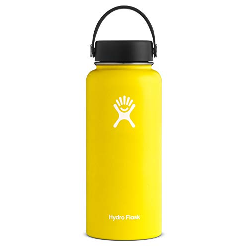 Hydro Flask Water Bottle - Stainless Steel & Vacuum Insulated - Wide Mouth with Leak Proof Flex Cap - 32 oz, Lemon
