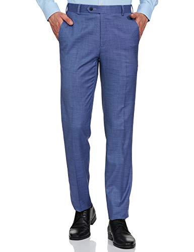 Raymond Men's Straight Fit Formal Trousers (RMTX03458-B5_Medium Blue_34W x 36L)