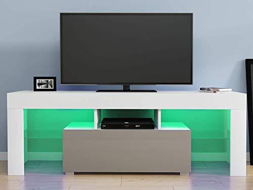 Tv-meubelstandaard 130 cm tv-meubel Witte matte behuizing en grijze hoogglans led-verlichting zonder lades