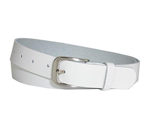 Vascavi Ledergürtel 100% echt Leder, Jeansgürtel, 3 cm breit und ca. 0.25 cm stark, Gürtel, Made in Germany, Anzugsgürtel, Hüftgürtel, (110 cm Gesamtlänge 120 cm, Weiß)