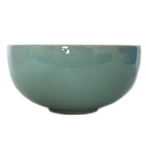 Seladon glasiert Chinesische Reisschale, 11,4cm mit Rissen, porzellan, lichtgrün, 11,4 cm