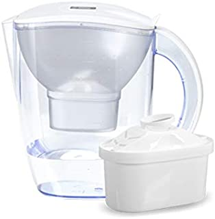 Alkaline Water Filter Pitcher - 3.8 Liters Improves PH up to 10, Ensures Water is Fresh and Clean. 2 Filters Included (White)