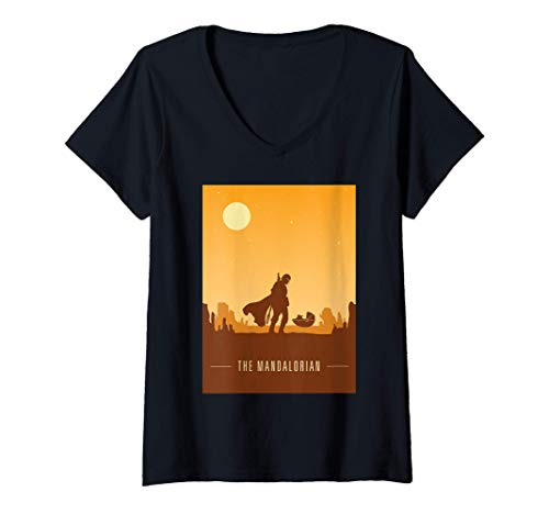 Mujer-Star-Wars-The-Mandalorian-and-The-Child-Poster-Camiseta-Cuello-V