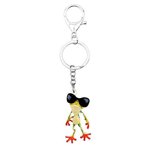 GPZEDCDB Schlüsselanhänger Schlüsselring Acryl Cartoon Sonnenbrille Frosch Schlüsselanhänger Ring Einzigartige Niedlichen Tier Schmuck Für Frauen Mädchen Tasche Geldbörse Charms Geschenk