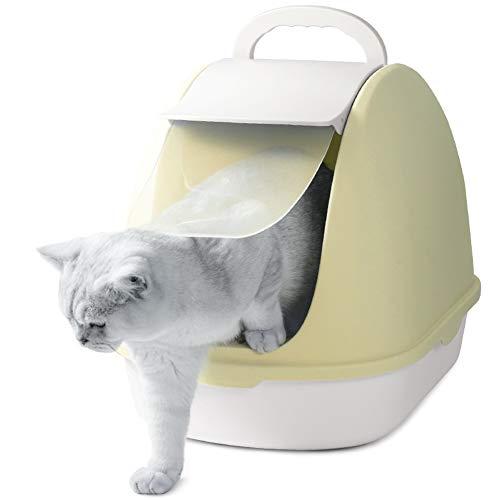 ZCY volledig gesloten grote kat nestkast toilet anti-Splashing deodorant kat zandbak afneembare bedpan kitten voor kat accessoires CLT1002, Geel
