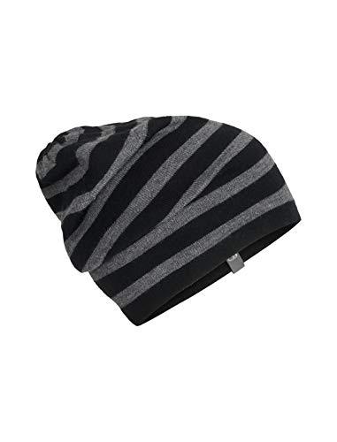 Icebreaker Merino Stripe Slouch Beanie für kaltes Wetter, Einheitsgröße, Schwarz