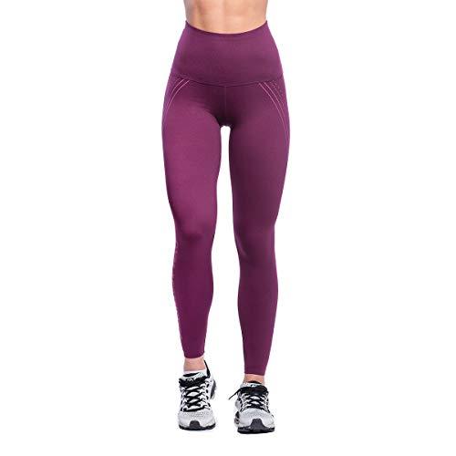 GYM AESTHETICS Mallas de compresión para mujer, cintura alta, de compresión, protección UV, elásticas, para yoga y otros deportes. granate M