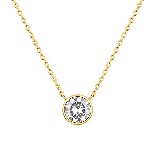 PAVOI 14K Yellow Gold Plated 1.00 ct (D Color, VVS Clarity) CZ Simulated Diamond Bezel-Set Solitaire Choker Necklace | Sterling Silver Necklace for Women