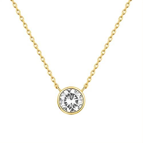 PAVOI 14K Yellow Gold Plated 1.00 ct (D Color, VVS Clarity) CZ Simulated Diamond Bezel-Set Solitaire Choker Necklace | Necklace for Women
