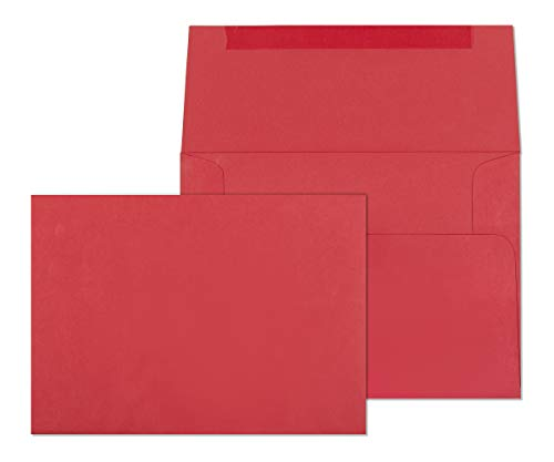 5x7 Envelopes for Invitations, Photos, Graduation, Baby Shower 5 x 7 Cards, Weddings,- Colored Envelope Bright Red A7 5 1/4 x 7 1/4 Square Flap Pack of 50