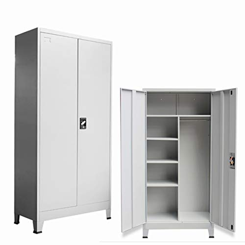 Lockable Office Filing Cabinet, Metal Storage Cupboard Unit With 6 Compartments, Office Wardrobe With Hanging Rail, Light Grey (Light Grey)