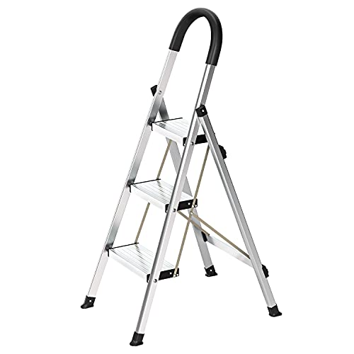 AMUSANG 3 Step Ladder,Folding Step Stool withWide Anti-Slip and Anti-Scratch,330lbs Sturdy Aluminum Ladder,to Prevent Oxidation and Rust,Sponge Safety Handgrip,Lightweight Portable Step Stool.