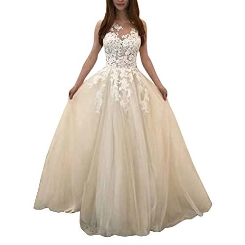 Tomwell Elegant Hochzeitskleid Damen Lang Hochzeitskleider Spitze Brautmode Rückenfrei Weiß Vintage Spitze A Linie Brautkleid Abendkleider A...