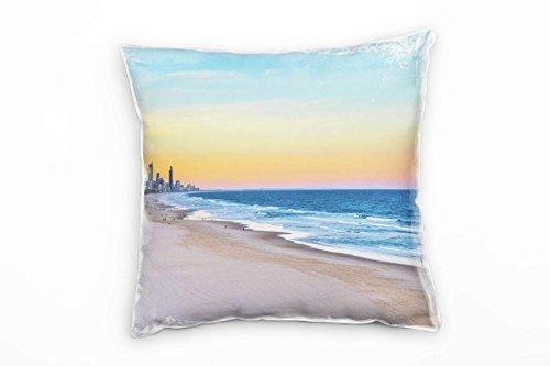 Paul Sinus Art City, Miami, strand, zee, zonsondergang, blauw decoratief kussen 40 x 40 cm, voor bank, sofa, lounge sierkussen - decoratie om je goed te voelen